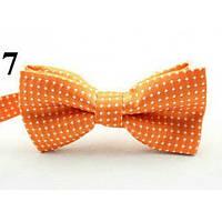 Бабочка мужская маленькая оранжевая в белый горошек