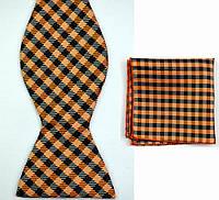 Галстук-бабочка мужская оранжевая  в клетку +платок