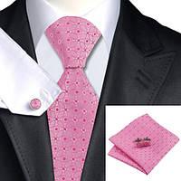 Галстук мужской розовый с белым в узорах + платок и запонки JASON&VOGUE