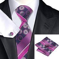 Галстук мужской фуксия с цветами и полоской +платок и запонки JASON&VOGUE