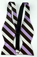 Галстук-бабочка мужская в полоску с коричневым и фиолетовым