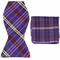Галстук-бабочка мужская фиолетовая в решетку +платок