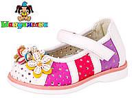 Перфорированые детские туфли белого цвета  19-24 размер