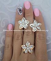 Серебряный набор - серьги и кольцо с золотом
