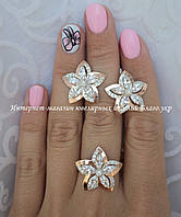 Серебряный набор - серьги и кольцо с золотом, фото 1