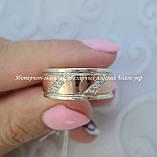 Обручальное кольцо серебряное с золотыми пластинами унисекс 8мм, фото 2