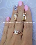 """Серебряный комплект """"Изумление"""" кольцо и серьги с золотыми вставками женский, фото 10"""