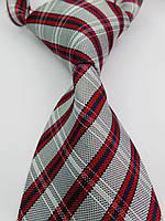 """Галстук мужской красный с серым в решеточку """"UK Style"""" KAILONG"""