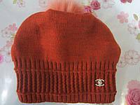 """Подростковая зимняя шапка на флисе  """"Шанель реплика вязка с мехом"""" на девочку. Разные цвета. Оптом., фото 1"""