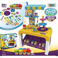 Кухня детская с пластилином, формочками и посудкой модулин тесто для лепки