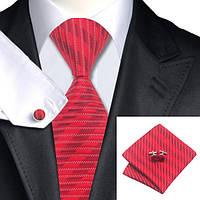 Галстук мужской подарочный красный в горизонтальную полоску JASON&VOGUE