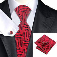 Галстук мужской красный в узор с платком и запонками JASON&VOGUE