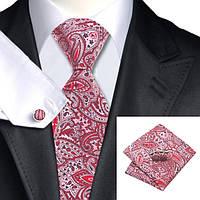 Красный мужской галстук в абстракциях с платком и запонками  JASON&VOGUE