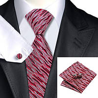 Галстук мужской красный с серым под кору дерева +платок с запонками JASON&VOGUE