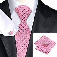 Галстук мужской розовый в квадратик +запонки и платок JASON&VOGUE