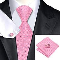 Подарочный мужской галстук розовый с синим в узорах JASON&VOGUE