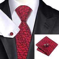 Галстук мужской красный  с дизайном трещин +платок и запонками JASON&VOGUE