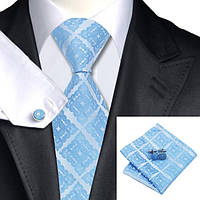 Подарочный мужской галстук голубой в узорах JASON&VOGUE