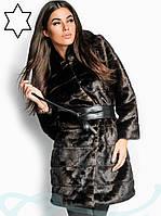 Удлиненная эко шуба, коричневая с кожаным поясом, фото 1