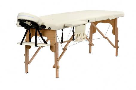 Массажный стол BodyFit XL 2 сегментный деревянный, бежевый, фото 2