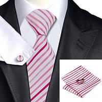 Галстук мужской розовый в полоску с платком и запонками JASON&VOGUE