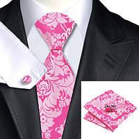 Галстук мужской на подарок розовый в красивых узорах JASON&VOGUE
