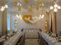 Свадебная композиция сердца,водопады из гелиевых шаров,13 шаров под потолком