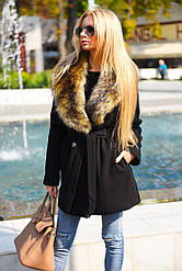 Зимнее кашемировое пальто короткое, с искусственным меховым воротником под енота, воротник съемный.