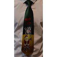 Галстук мужской зеленый новогодний Дед Мороз - гольфист Bow Tie House™