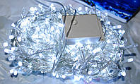 Новогодняя диодная лед гирлянда нить 400 ламп,БЕЛАЯ, бесцветный силиконовый кабель, 20 метров