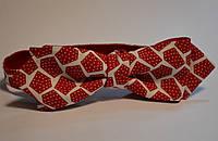 Двухсторонняя красная  с белым мужская галстук-бабочка уголком (узкая)