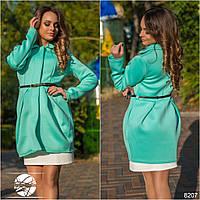 Платье - пальто из неопрена с пояском для модниц