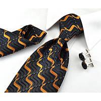 D.Berite Галстук темно-синий с оранжевыми волнами