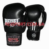 Боксерские перчатки REYVEL / Кожа чёрные 10 унций
