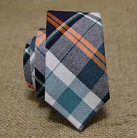 Галстук мужской шерстяной зеленый с оранжевым в клетку Bow Tie House™
