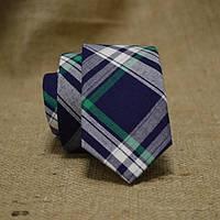 Галстук мужской шерстяной синий с зеленым в клетку Bow Tie House™