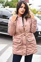 Куртка-парка с искусственным мехом под енота