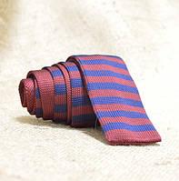 Галстук мужской трикотажный вишневый в синюю полоску Bow Tie House™
