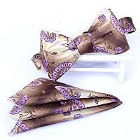 Галстук-бабочка коричневая с фиолетовым