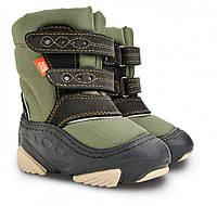 Детские зимние сапоги-дутики Demar Snow Storm B зелено-черные р.22-23 теплющие