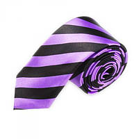 Галстук узкий фиолетовый в полоску