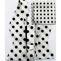 Tie Галстук-бабочка белая в крупный черный горошек +платок