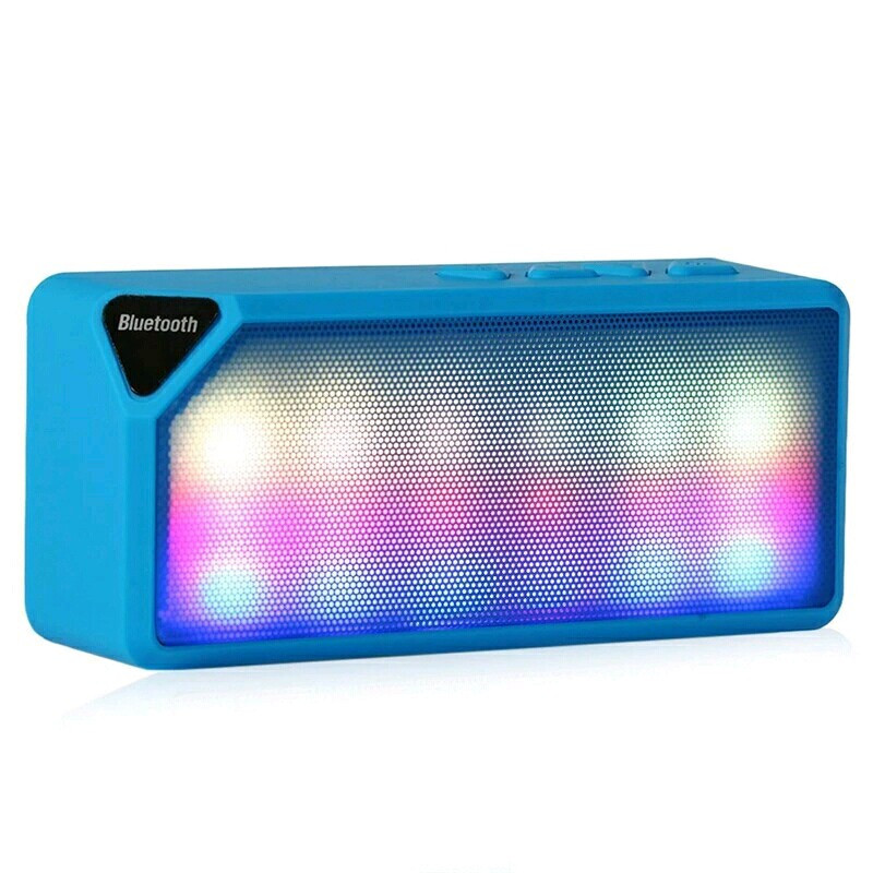 Колонка беспроводная Bluetooth блютуз синяя, LED, USB, micro SD, FM, AUX