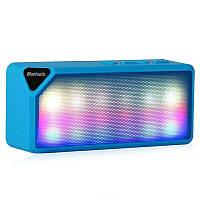 Колонка беспроводная Bluetooth блютуз синяя, LED, USB, micro SD, FM, AUX, фото 1