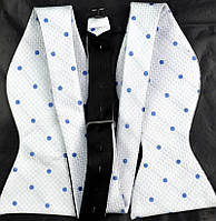 Tie Галстук-бабочка белая в голубой горошек