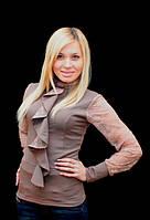 Блуза женская с жабо коричневая