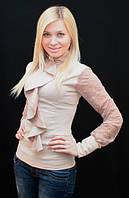 Блуза женская с жабо беж