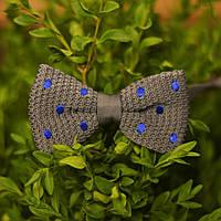 Bow Tie House™ Бабочка вязаная серая в синий горошек