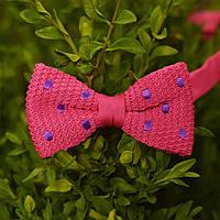Bow Tie House™ Бабочка вязаная розовая в фиолетовый горошек