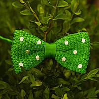 Bow Tie House™ Бабочка вязаная зеленая в белый горошек